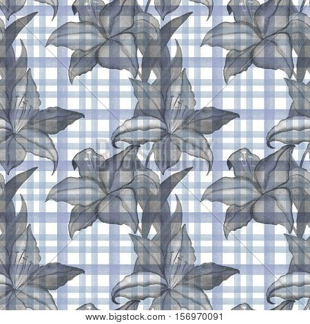 Seamless wallpaper with gray lilly flowers on checkered gray background, watercolor illustration