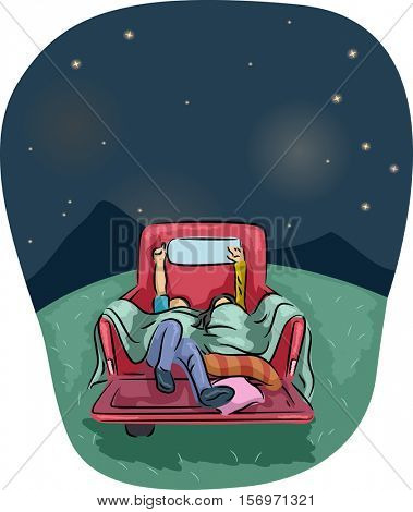 Romantic Illustration of a Couple Stargazing from the Back of a Pick Up Truck