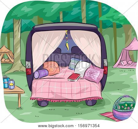 Colorful Illustration of a Glamorous Camping Set Up Mounted on a Van Equipped with Fancy Pillows and Curtains