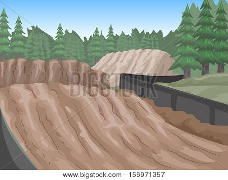Landscape Illustration of an Empty Motocross Race Tracks With Fresh Skid Marks
