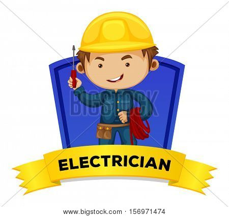 Occupation wordcard with word electrician illustration