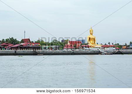Chao Phraya river at Koh Kret Nonthaburi Thailand .