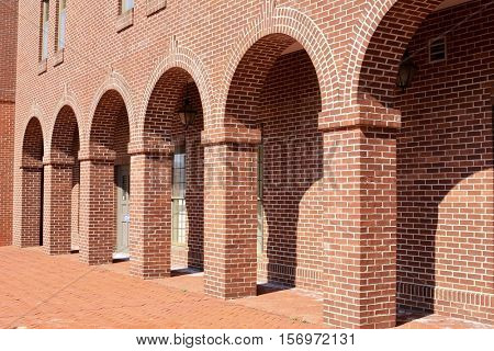 Red brick building with archways
