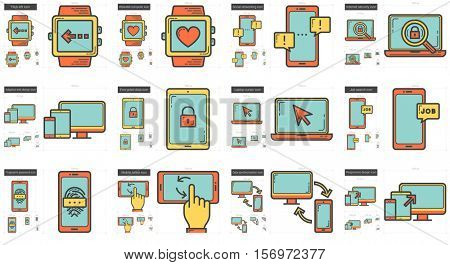 Mobility vector line icon set isolated on white background. Mobility line icon set for infographic, website or app. Scalable icon designed on a grid system.