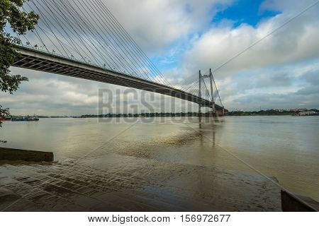Second Hooghly river bridge - the longest cable stayed bridge in India. Photograph taken from Princep Ghat Kolkata.