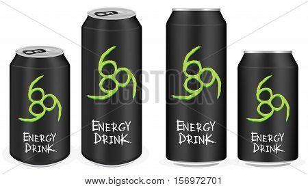 a black aluminium energy drink cans vector