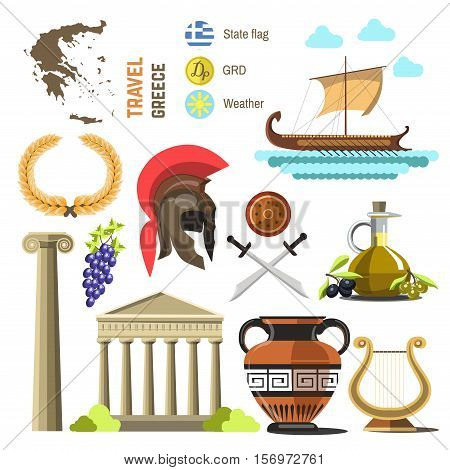 Greece vector travel collection. Greece Landmark Flat Icons Design. Isolated on white.
