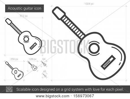 Acoustic guitar vector line icon isolated on white background. Acoustic guitar line icon for infographic, website or app. Scalable icon designed on a grid system.
