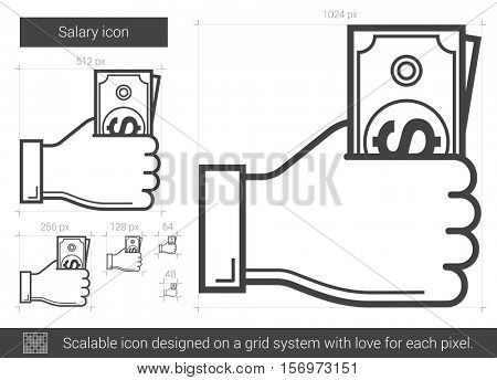 Salary vector line icon isolated on white background. Salary line icon for infographic, website or app. Scalable icon designed on a grid system.