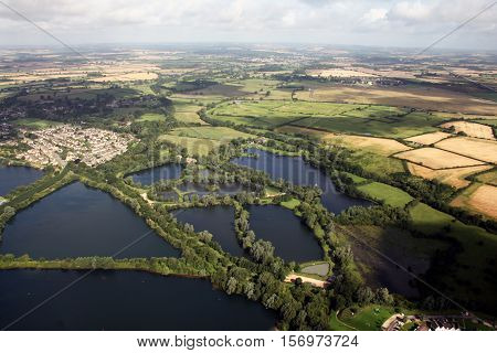 South Cerney lakes, Cirencester, Gloucestershire, England. Aerial shot.