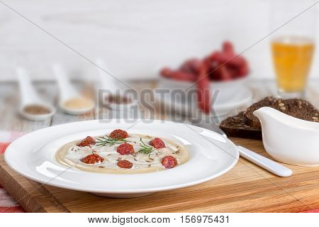 Beer And Cream Soup With Kielbasa Sausage, Dill. And Cheese