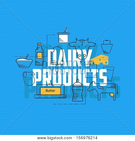 Dairy products line icons set. Dairy icons on blue background. Set of milk products logos and labels for farming and production. Dairy products concept illustration.