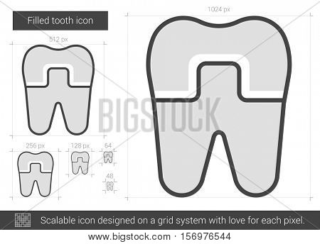 Filled tooth vector line icon isolated on white background. Filled tooth line icon for infographic, website or app. Scalable icon designed on a grid system.