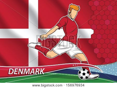 Vector illustration of football player shooting on goal. Soccer team player in uniform with state national flag of Denmark.