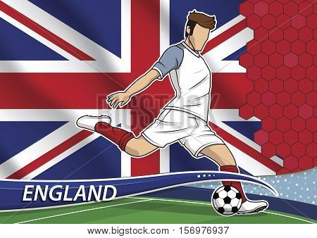 Vector illustration of football player shooting on goal. Soccer team player in uniform with state national flag of England.