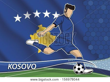 Vector illustration of football player shooting on goal. Soccer team player in uniform with state national flag of Kosovo.