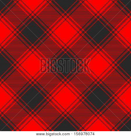Seamless buffalo plaid pattern. Red & black checkered textile print.