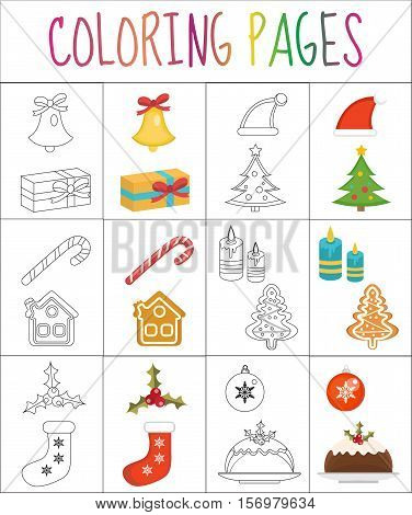 Coloring book page. Christmas set. Sketch and color version. Coloring for kids. Vector illustration