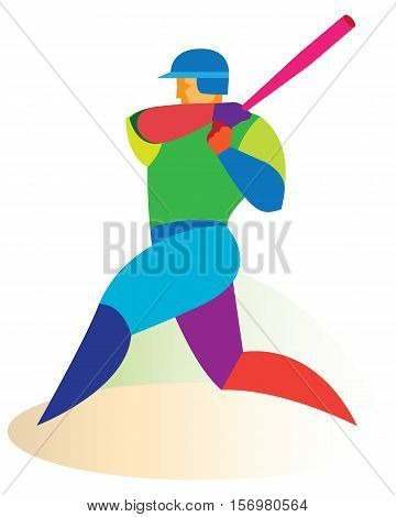 Young athlete is professional Baseball batter.vector illustration