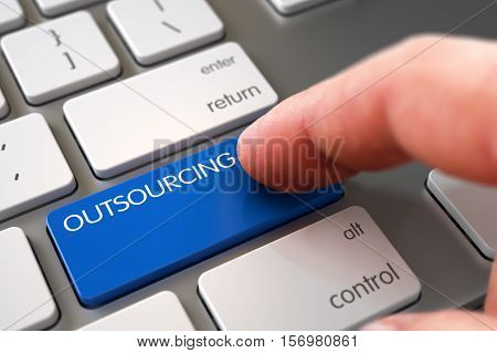 Business Concept - Male Finger Pointing Blue Outsourcing Button on Slim Aluminum Keyboard. 3D Illustration.