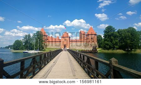 Trakai castle in Lithuania on sunny weather