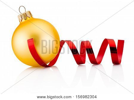 Christmas golden bauble and red curling paper Isolated on white background