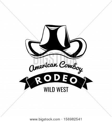 Cowboy hat. Wild West Label. Rodeo Competition Badge. Western Illustration. Vector Isolated On White Background