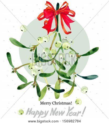 mistletoe branch. watercolor mistletoe bouquet. Christmas mistletoe. Christmas background. Merry Christmas. Happy New Year.