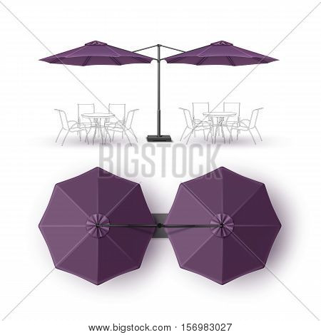 Vector Violet Purple Blank Patio Double Outdoor Beach Cafe Bar Pub Lounge Restaurant Round Umbrella Parasol  for Branding Top Side View Mock up Close up Isolated on White Background