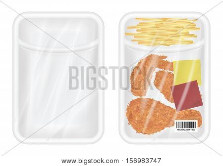 top view of White polystyrene packaging mockup with Chicken fried and french fries