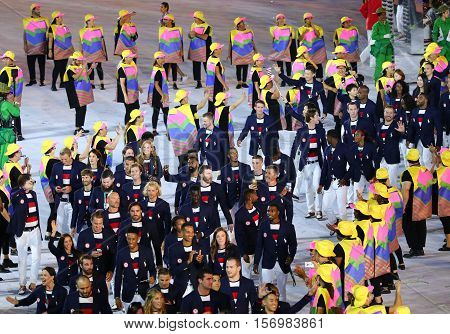 RIO DE JANEIRO, BRAZIL - AUGUST 5, 2016: Olympic team USA marching at Maracana Stadium during the Rio 2016 Opening Ceremony