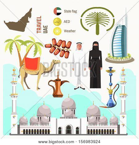 UAE travel concept map. Flat Icons Design. Vector Illustration