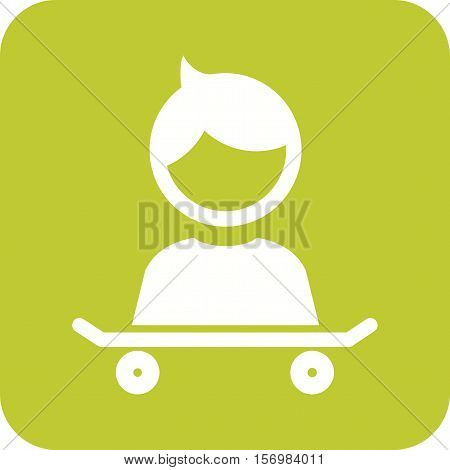 Skateboard, kid, sports icon vector image. Can also be used for kids. Suitable for use on web apps, mobile apps and print media.