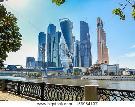 MOSCOW, RUSSIA - JULY 17, 2016: Moscow skyline. Modern skyscrapers in business district, Moscow, Russia