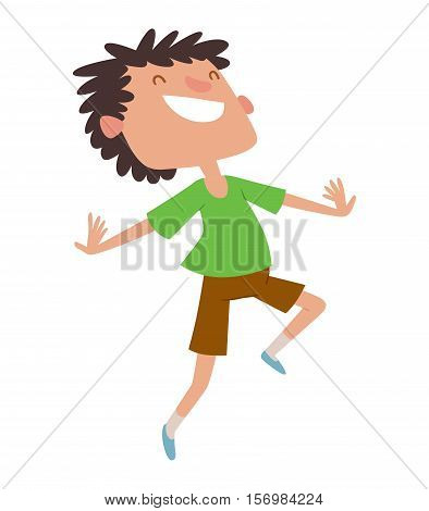 Cute boy jumping very high and happy character vector. Jumping beautiful kid and happy jumping.. Expression smile healthy joy boy.