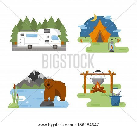 Set of camping equipment symbols vector icons. Camping tent and camping fishing rod travel backpack. Campfire activity camping travel icons.