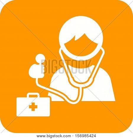 Kid, stethoscope, play icon vector image. Can also be used for kids. Suitable for web apps, mobile apps and print media.