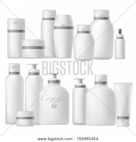 Cosmetic bottle realistic mock up set. Cosmetics brand template pack. Blank cosmetic package. Vector Illustration. Isolated on white.