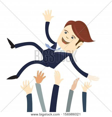 Happy Business Man Wearing Suit Threw In The Air By His Team Colleagues. Flat Style