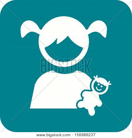 Playing, child, dolls icon vector image. Can also be used for kids. Suitable for web apps, mobile apps and print media.