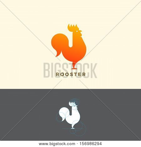Stylized Rooster Sign, Emblem or Logo Template. Made With Golden Ratio Principles. Isolated.