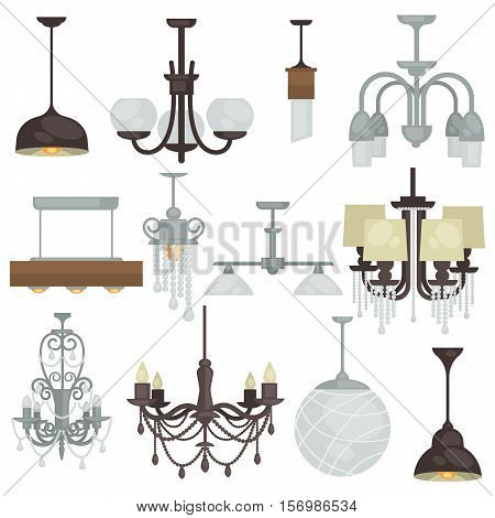Chandelier various vintage luxury type set. Different hanging lamp collection for interior design. Vector Illustration. Isolated on white.
