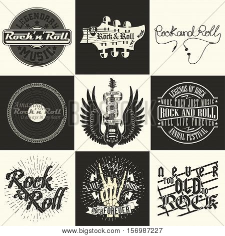Set of  Monochrome Rock music prints, hipster vintage labels, graphic design , rock-music tee print stamp design. t-shirt print lettering artwork, vector