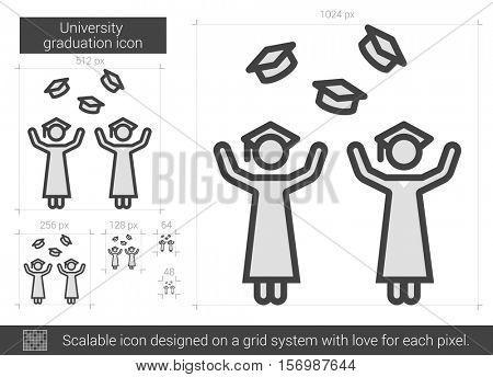 University graduation vector line icon isolated on white background. University graduation line icon for infographic, website or app. Scalable icon designed on a grid system.