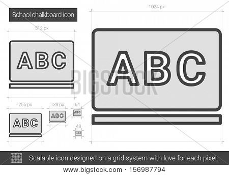 School chalkboard vector line icon isolated on white background. School chalkboard line icon for infographic, website or app. Scalable icon designed on a grid system.