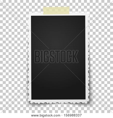 Realistic vector photo frame with retro figured edges on piece of sticky adhesive tape placed vertically on transparent background. Template photo design.
