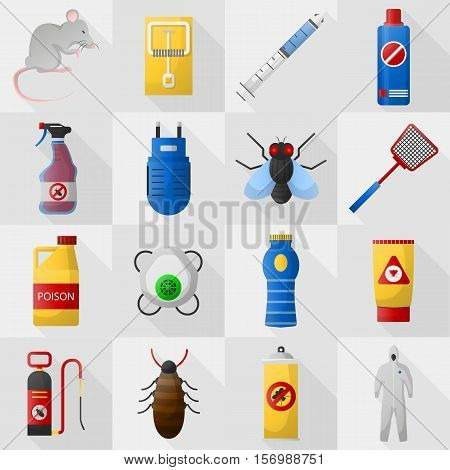 Home pest control expert exterminator service set. Flat icons set. Isolated vector illustration.