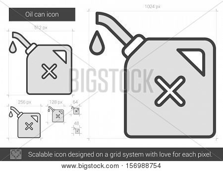 Oil can vector line icon isolated on white background. Oil can line icon for infographic, website or app. Scalable icon designed on a grid system.