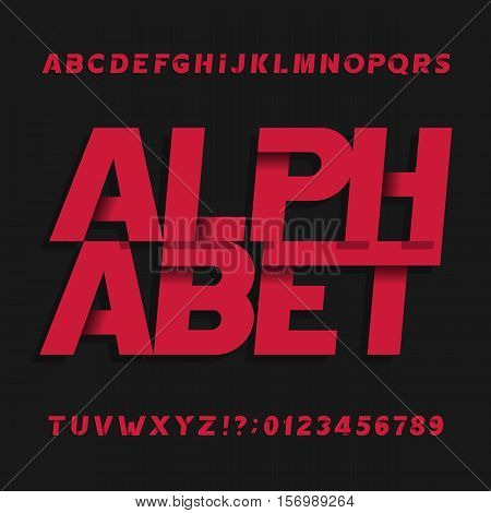 Decorative alphabet vector font. Oblique letters symbols and numbers. Typography for headlines, posters, etc.
