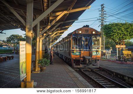 Nakhon Lampang, Thailand - November, 13, 2016 : Train ariving tostation at Nakhon Lampang Railway Station in Nakhon Lampang, Thailand.